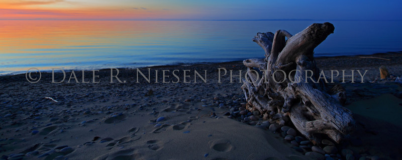 Twilight at Whitefish Point on the shore of Lake Superior.